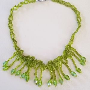 Vintage 1970s Woven Seed Bead Choker Necklace